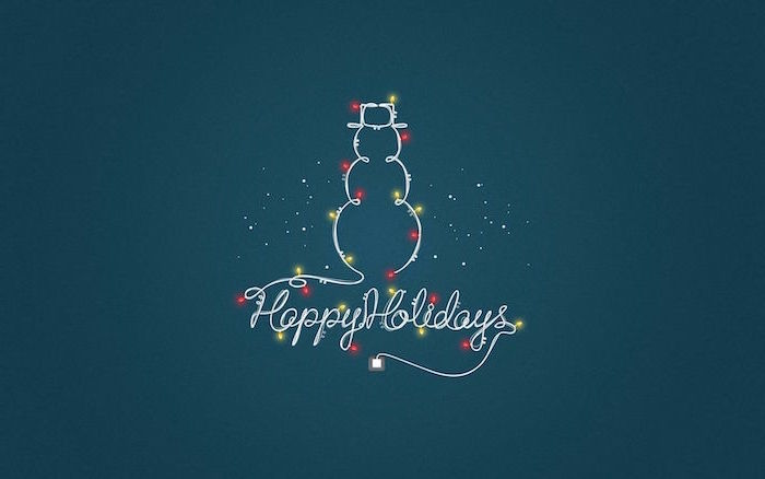 happy holidays written with white font snowman outline with red and yellow lights cute christmas wallpaper blue background