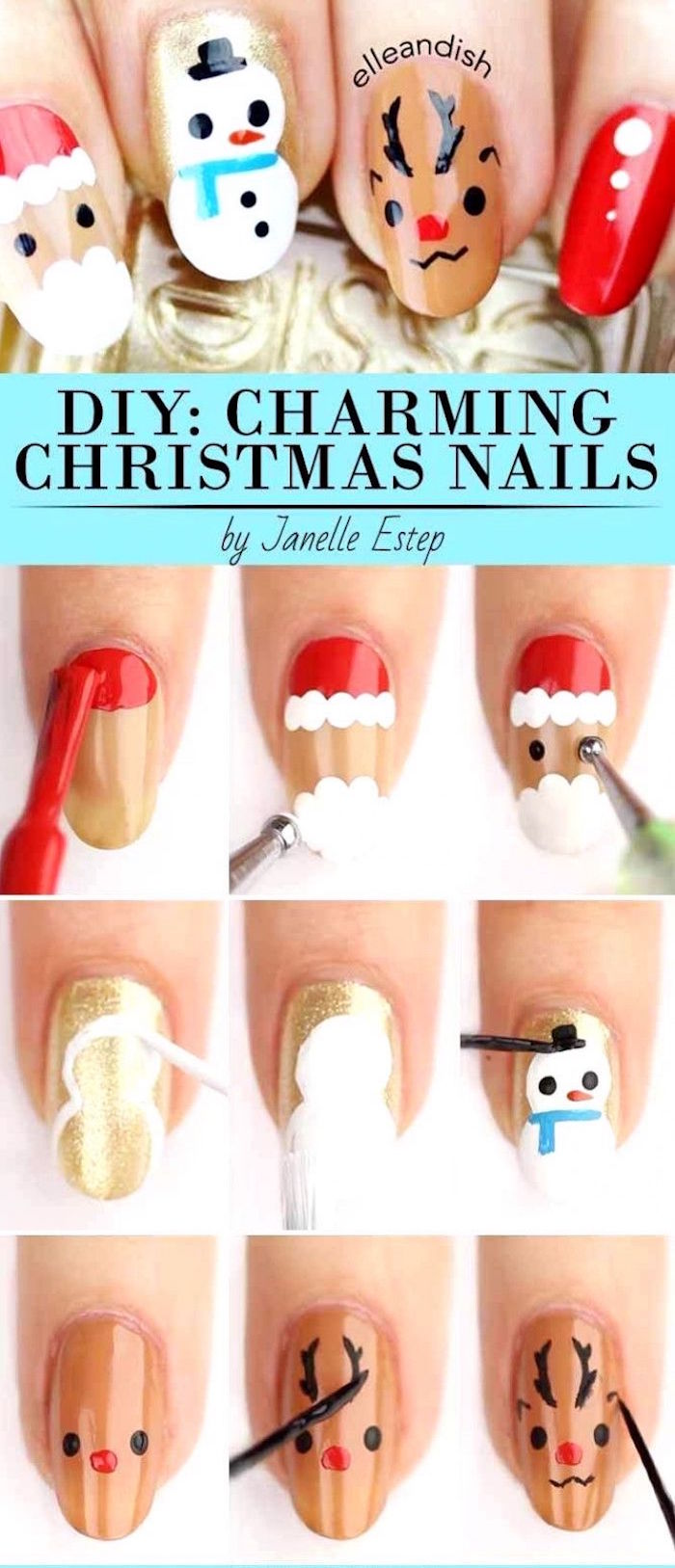 holiday nail designs medium length almond nails with santa snowman and reindeer decorations step by step diy tutorial