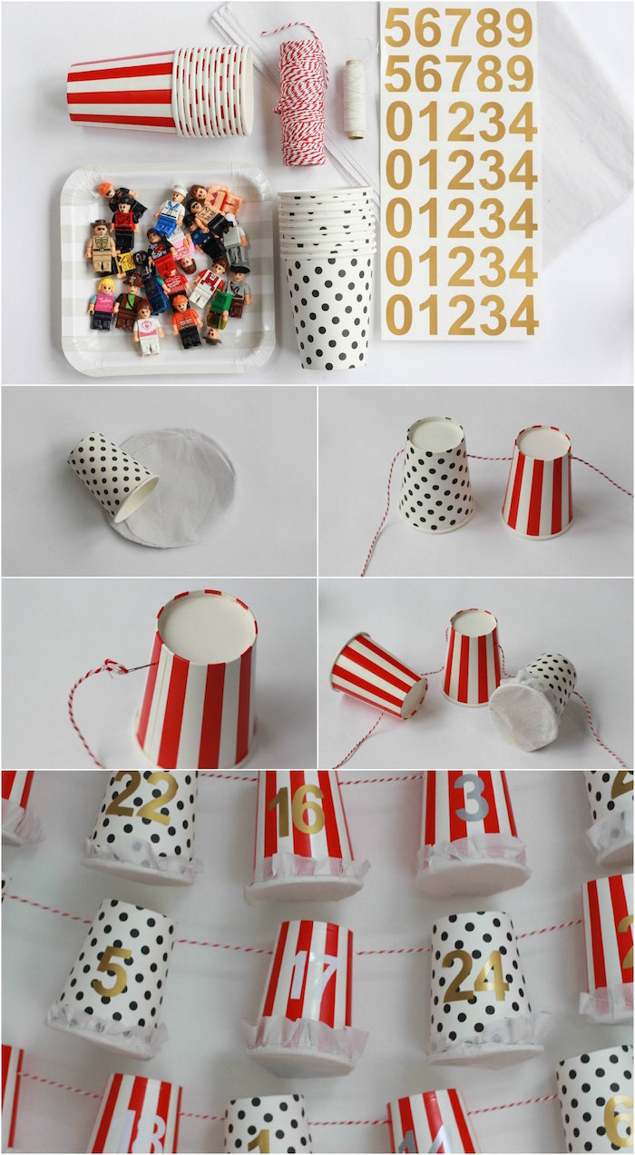 homemade advent calendar with paper cups photo collage of step by step diy tutorial labeled with gold numbers