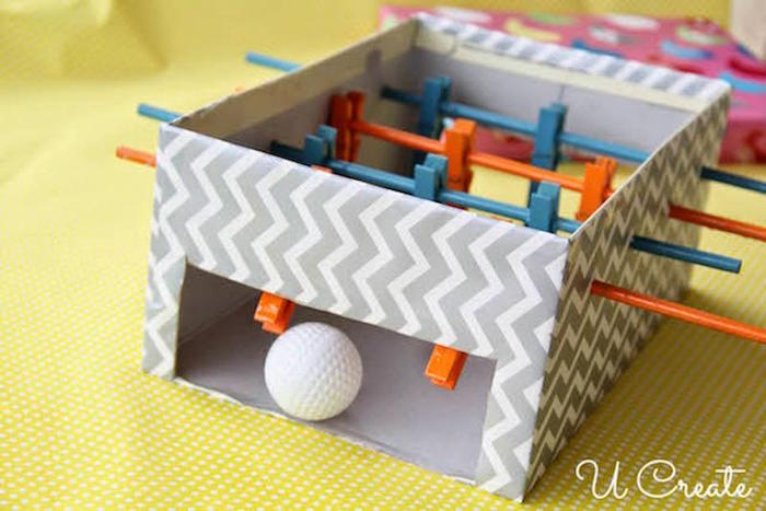 how to build a mini foosball table with straws and clothespins activities for toddlers at home small golf ball