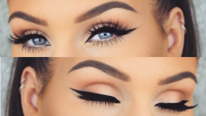 how to do a cat eye two photos of woman with blue eyes brunette hair thick eyebrows eyeliner with sharp edges