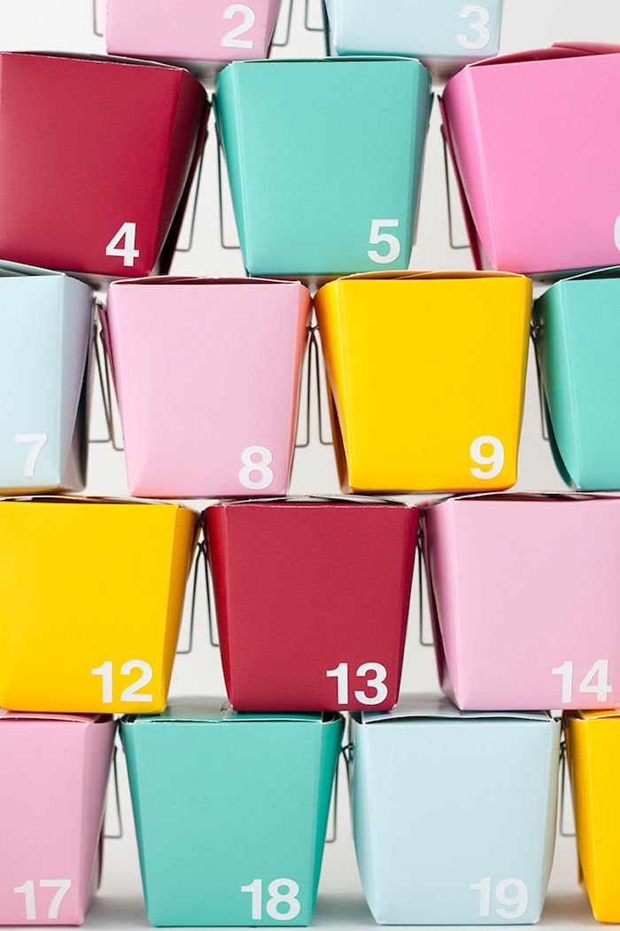 how to make an advent calendar with take out boxes in different colors step by step diy tutorial