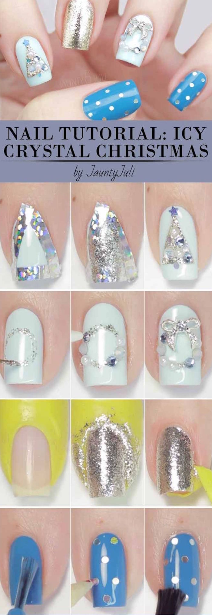 icy crystal christmas step by step diy tutorial for christmas tree and garland decorations with rhinestones christmas nail colors