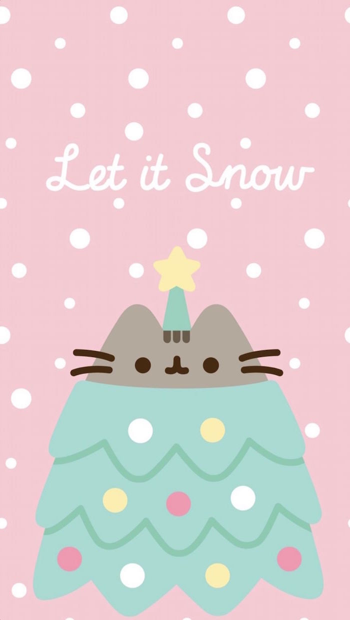 let it snow written in white cursive on pink background christmas desktop backgrounds drawing of pusheen as christmas tree