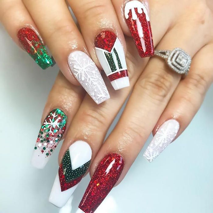 long coffin nails holiday nail designs nail polish in red white and green with different decorations on each nail