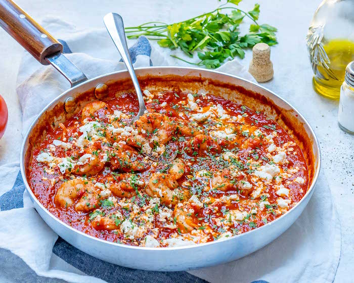 mediterranean shrimp recipe with tomato sauce cooked in skillet how to cook frozen shrimp garnished with chopped parsley