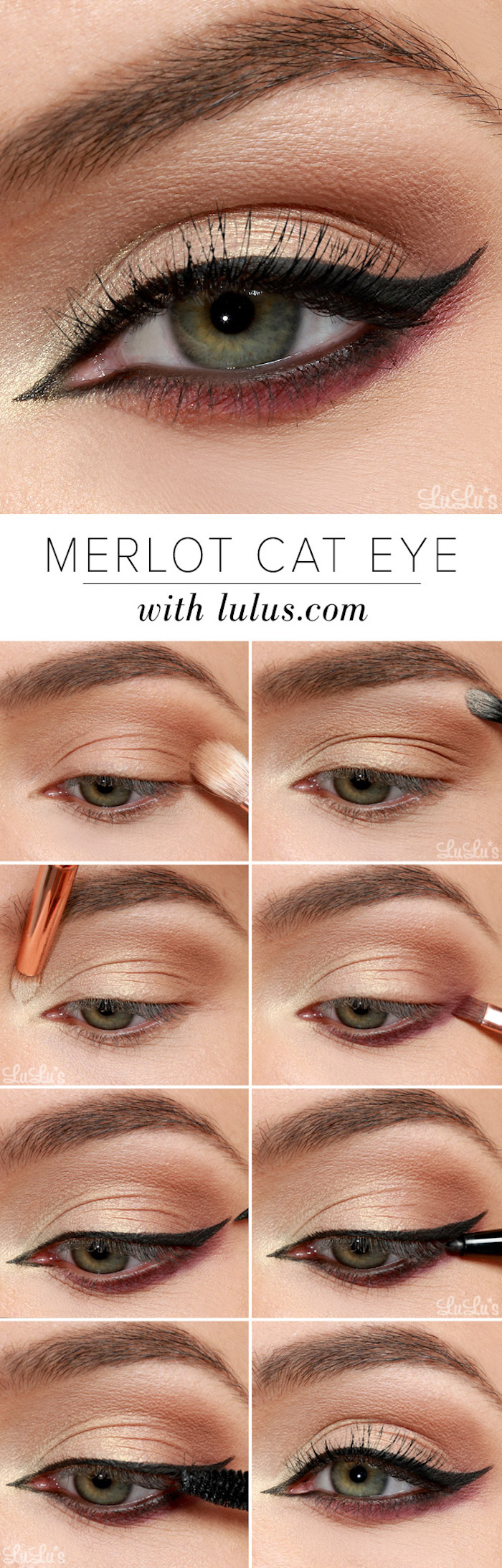 merlot cat eye step by step tutorial on woman with green eyes winged eyeliner tutorial photo collage