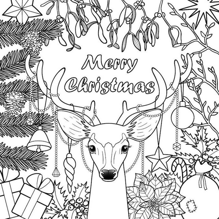 merry christmas written above drawing of deer christmas coloring pages for kids flowers pinecones presents around it