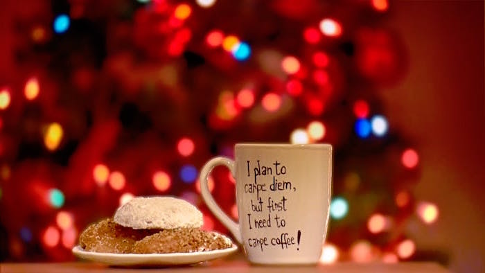 mug next to plate with cookies christmas background iphone i plan to carpe diem but first i need to carpe coffee written on mug