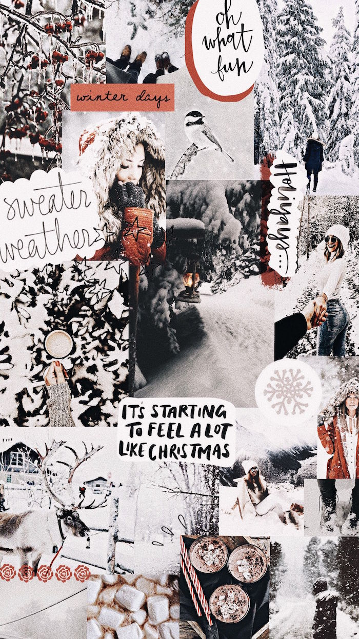 photo collage of different photos showing snowy landscapes christmas wallpaper tumblr its starting to feel a lot like christmas