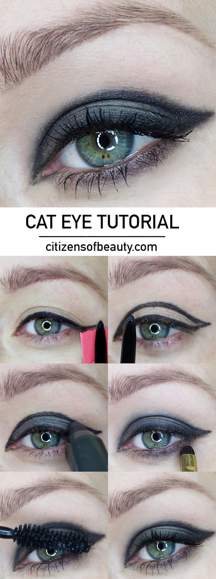 photo collage of step by step cat eye tutorial in six steps winged eyeliner tutorial on woman with green eyes