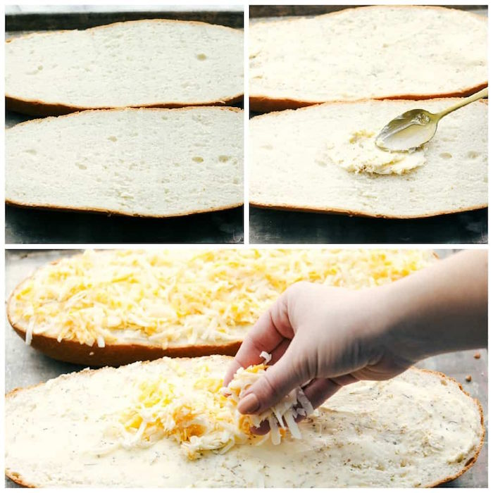 photo collage of step by step diy tutorial for cheesy garlic bread recipe christmas ham dinner