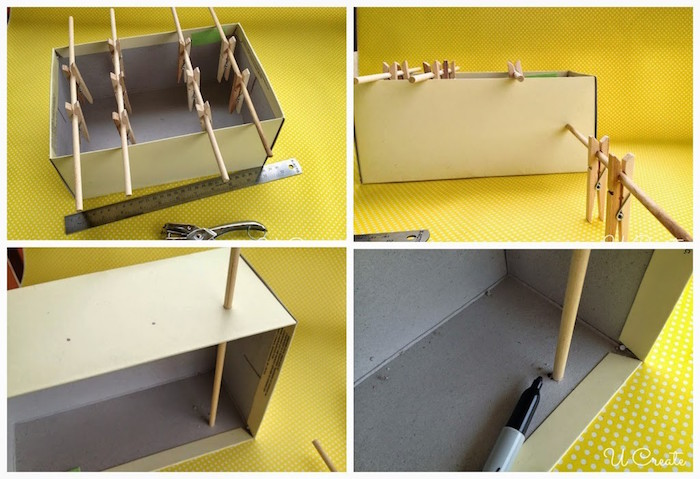 photo collage of step by step diy tutorial for how to build a mini foosball game activities for toddlers at home