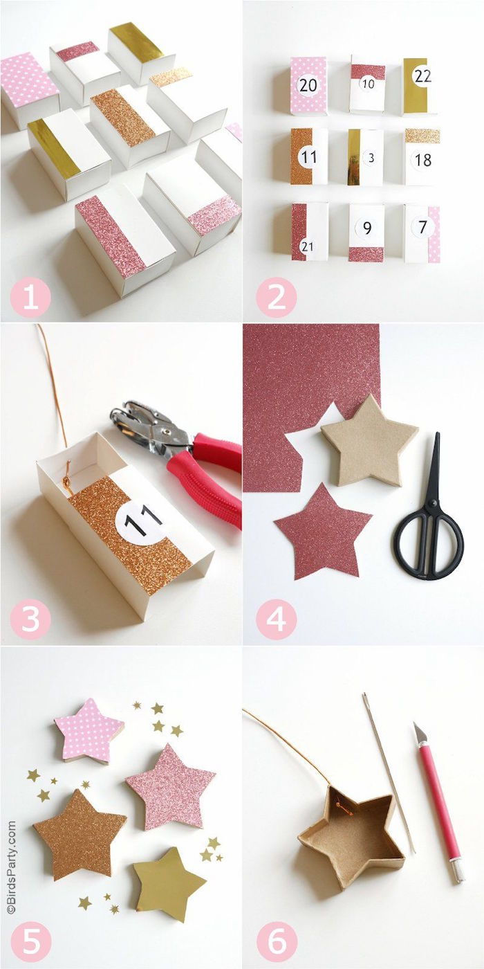 photo collage of step by step tutorial homemade advent calendar decorated with glitter stars small labeled boxes