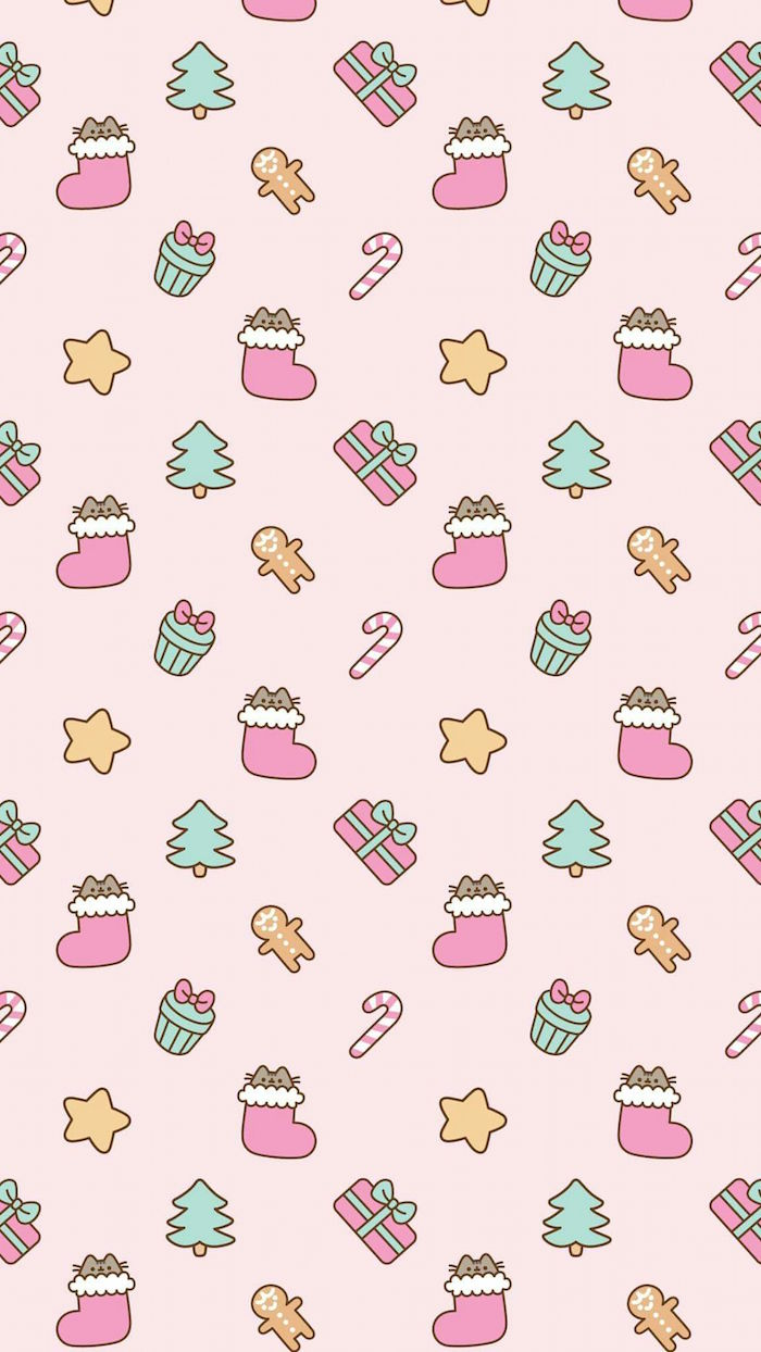 pink background with drawings on it christmas desktop backgrounds stockings presents candy canes christmas trees stars gingerbread men
