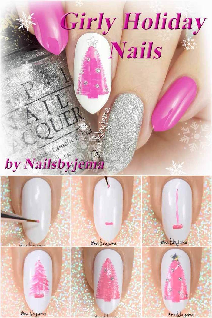 pink girly holiday nails christmas nail designs step by step diy tutorial pink and silver nail polish pink christmas tree decorations