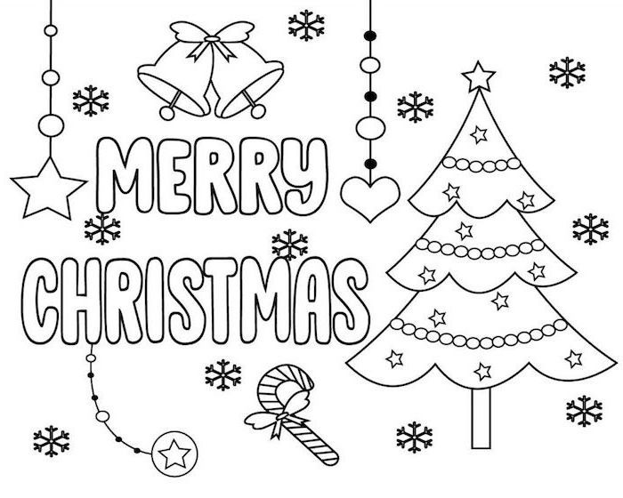 printable christmas coloring pages merry christmas written next to decorated christmas tree snowflakes bells candy cane