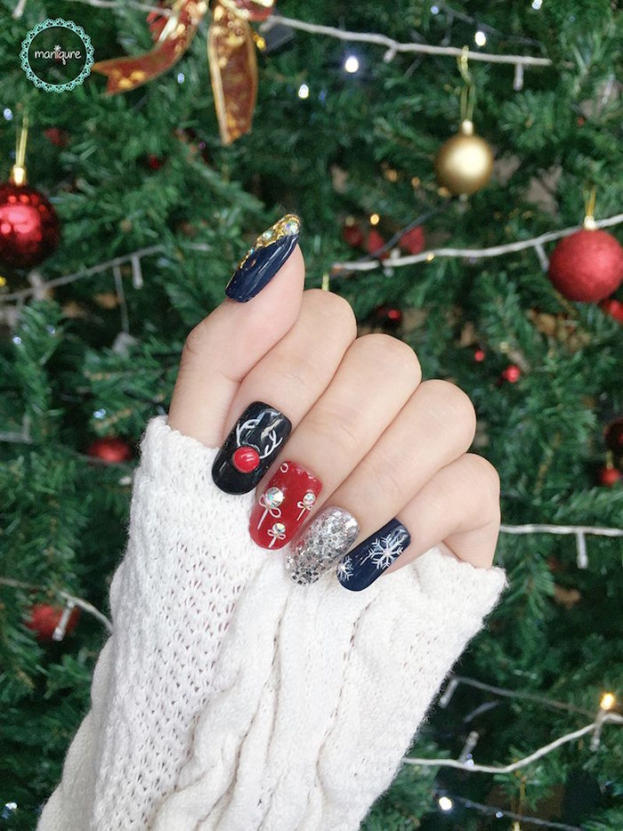 red blue black silver glitter nail polish on medium length squoval nails holiday nails 2020 christmas inspired decorations