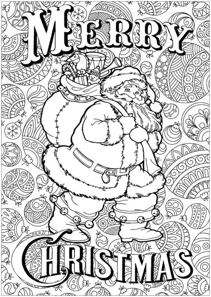 santa clause carrying bag full of gifts free printable christmas coloring pages baubles in the background merry christmas written