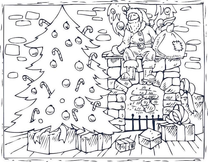 santa clause sitting on the fireplace holding a bag coloring sheets for kids decorated christmas tree next to fireplace
