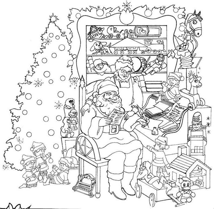 santa clause with mrs clause and the elves sitting next to piano christmas coloring pages christmas tree and toys around them