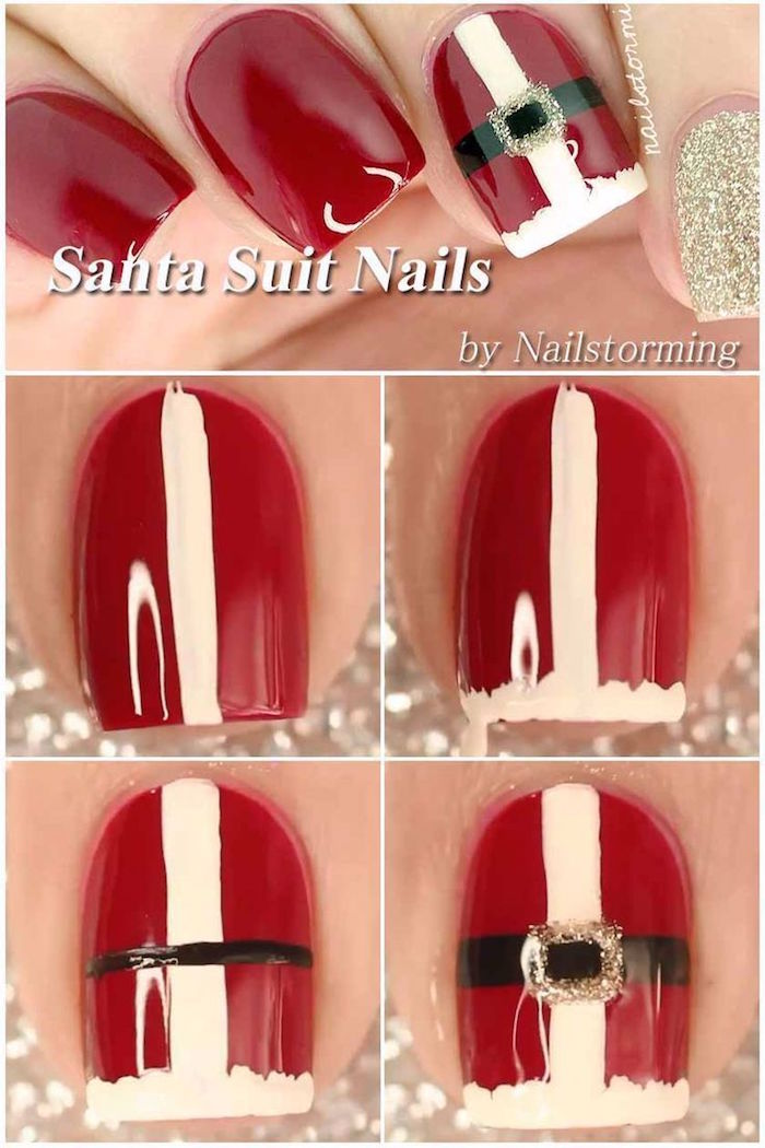 santa suit nails step by step diy tutorial christmas nail colors red nail polish gold glitter nail polish on the pinky finger