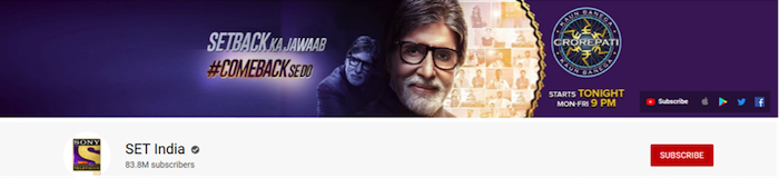 set india youtube channels with eighty three million subscribers front page of the channel