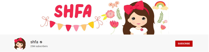 shfa channel with tweny five million subscribers youtube channels front page of the channel