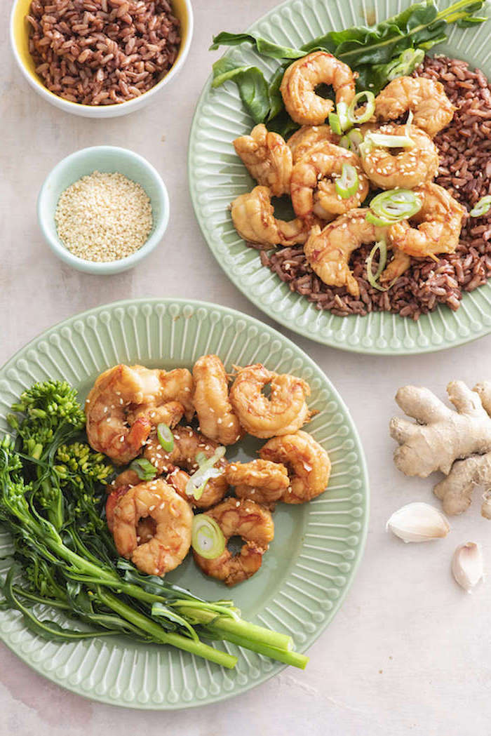shrimp recipes sauteed asian shrimp cooked with brown rice wild onion ginger placed on turquoise plates