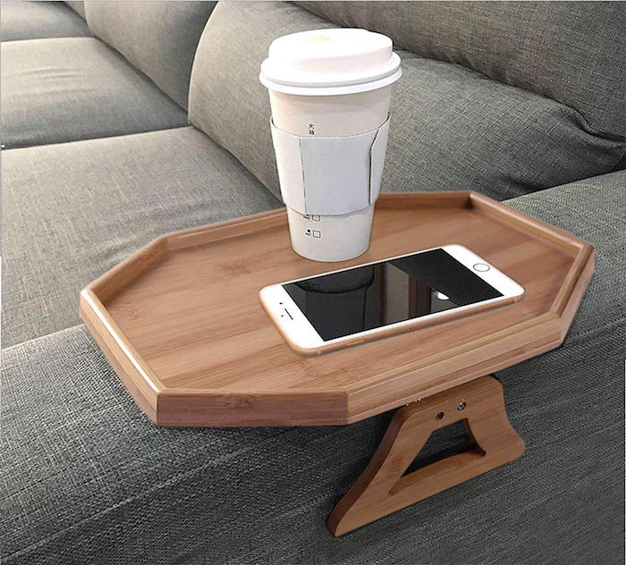 side table to put on your sofas arm rest made of wood best gifts for dad coffee and phone placed on it