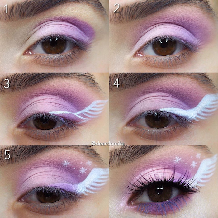 six step winged eyeliner tutorial with purple eyeshadoe and white wing drawn on the side of the eye
