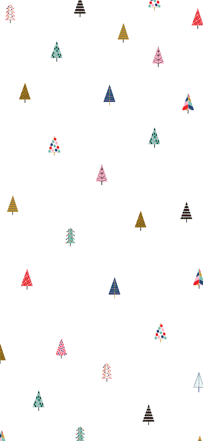 small christmas trees in different colors drawn aesthetic christmas wallpaper on white background