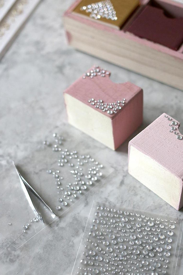 small wood boxes painted in pink christmas tree advent calendar decorated with silver rhinestones