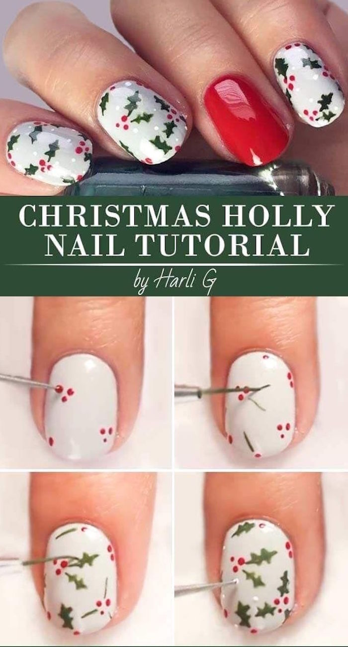 step by step diy tutorial for mistletoe decorations on white nail polish christmas nail colors short squoval nails