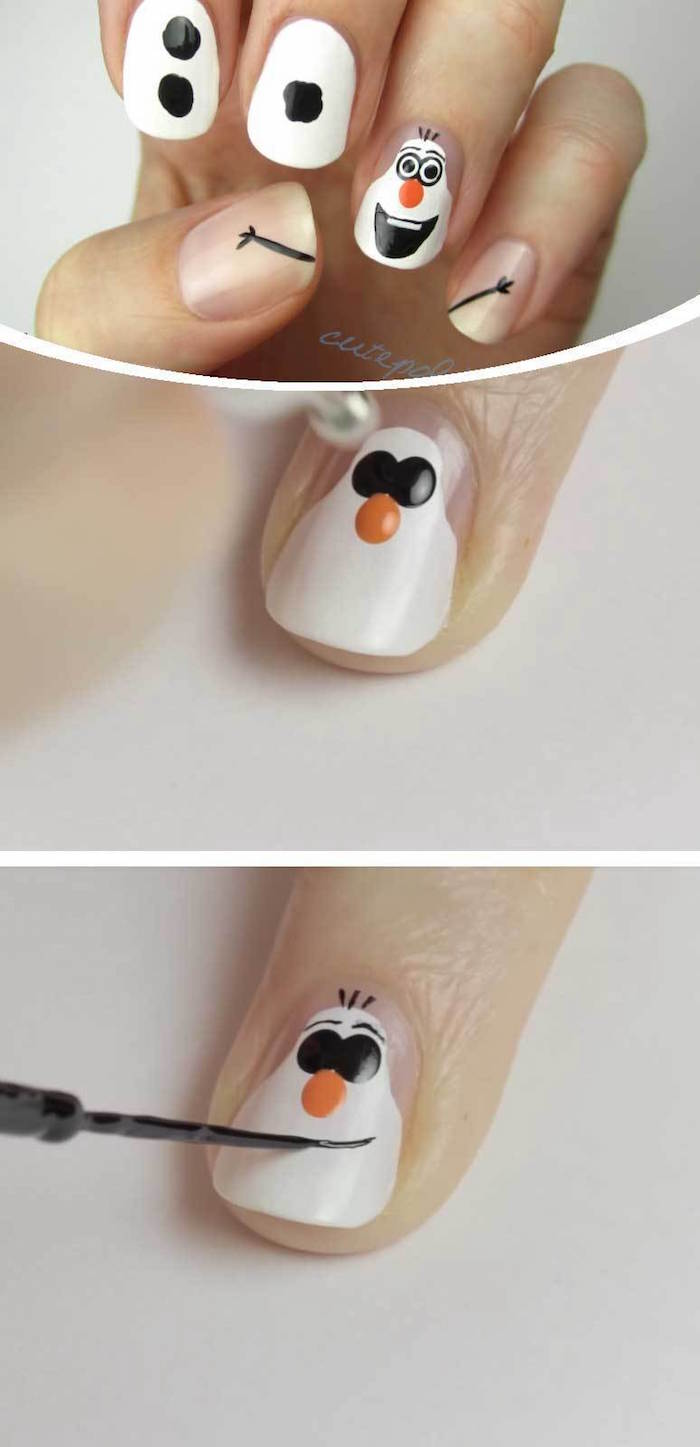 step by step diy tutorial short squoval nails with decorations of olaf from frozen christmas nail designs white nail polish