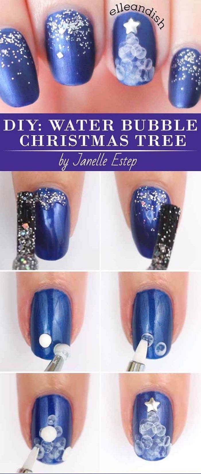 step by step diy tutorial water bubble christmas tree on navy blue nail polish christmas nail designs short squoval nails