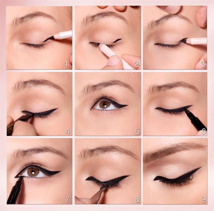 step by step tutorial how to do eyeliner for almond eyes with black eyeliner in nine steps