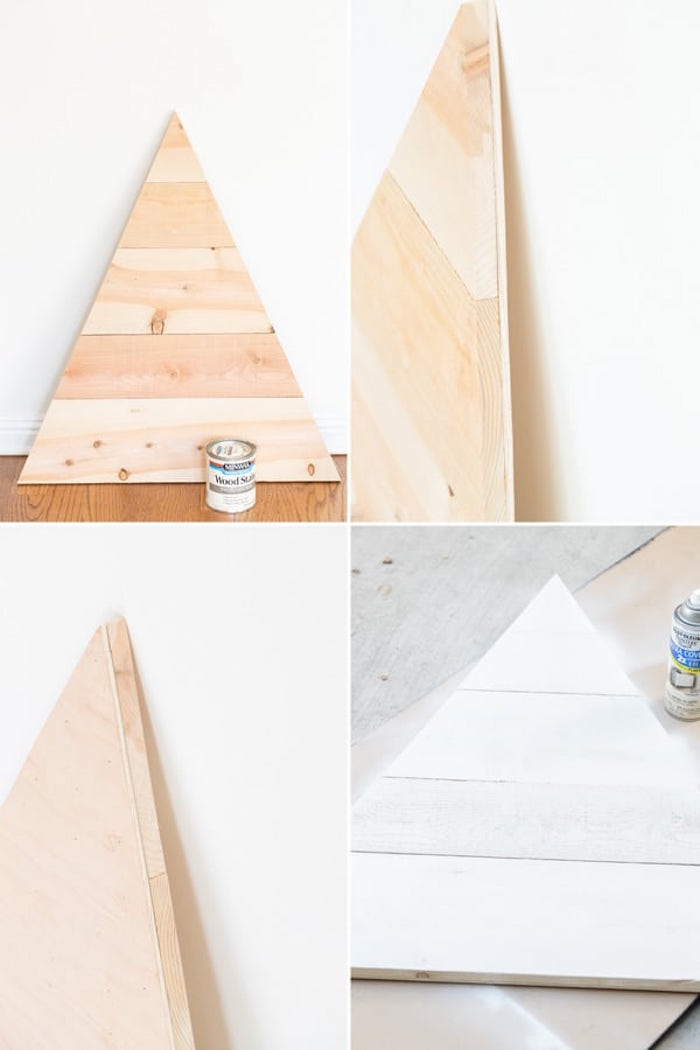 step by step tutorial how to make an advent calendar wooden christmas tree painted in white