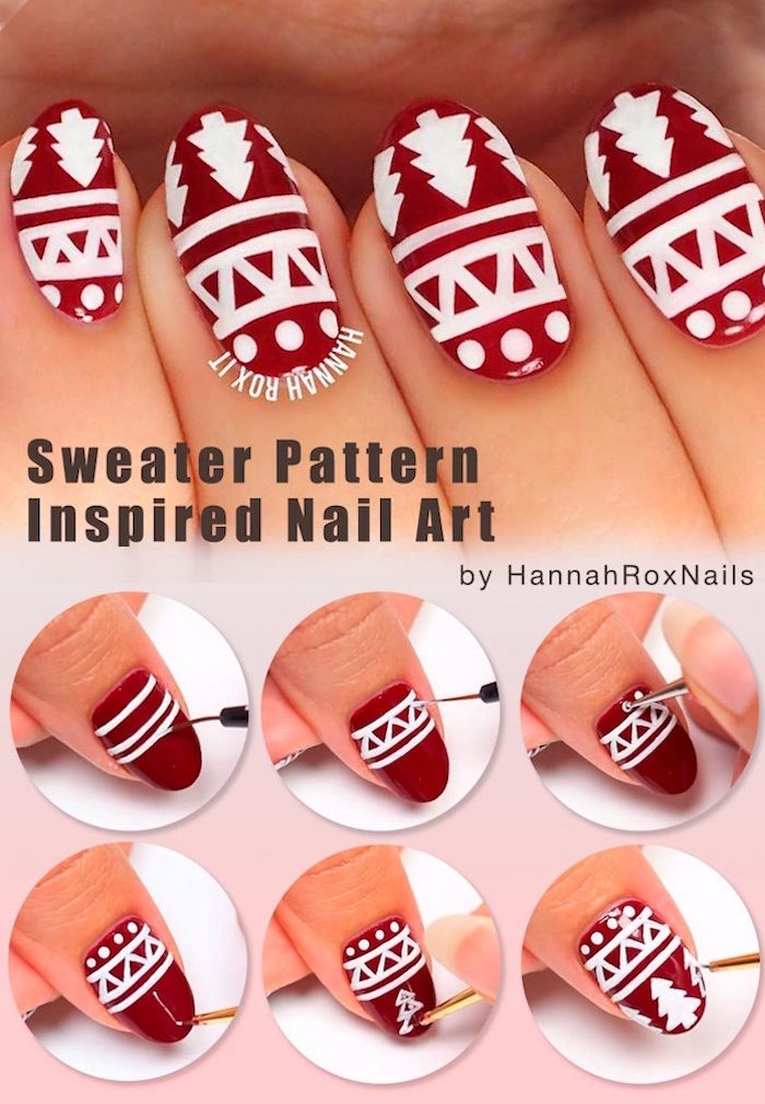sweater pattern decorations on medium length almond nails step by step diy tutorial simple christmas nails