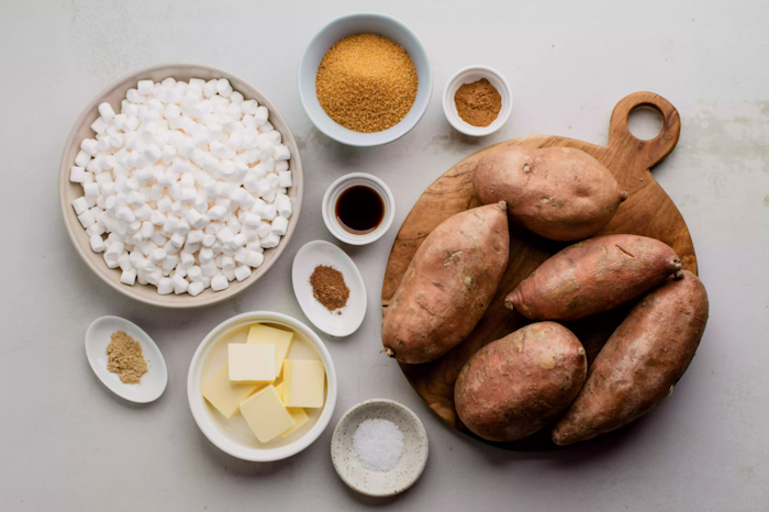 sweet potatoes marshmellows sugar butter herbs best thanksgiving sides candied yams ingredients