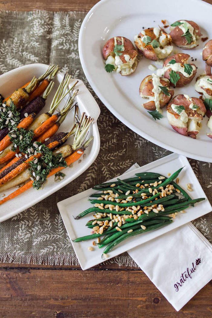 thanksgiving dinner ideas grateful white napkin casserole with roasted carrots potatoes beans gray table runner