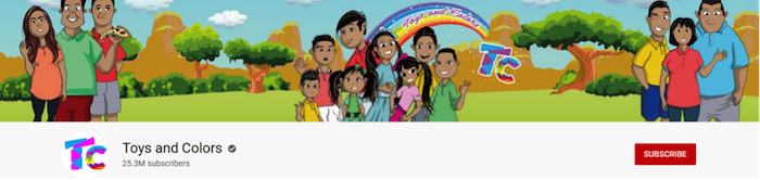 toys and colors front page of the youtube channels with twenty five million subscribers