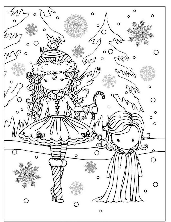 two girls dressed in winter clothes standing in the snow printable christmas coloring pages evergreen trees behind them lots of snowflakes