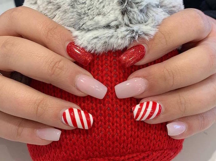 white and red striped decorations nude and red glitter nail polish christmas nail designs long square nails
