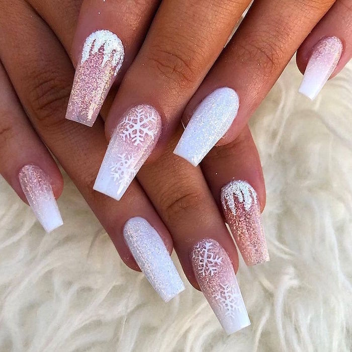 white and silver glitter nail polish christmas acrylic nails snowflake decorations on long coffin nails