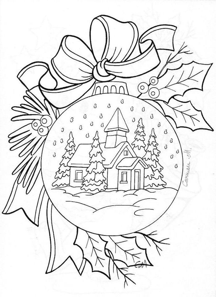 white background black outline of bauble with ribbon and mistletoe around it christmas coloring pages house covered with snow inside