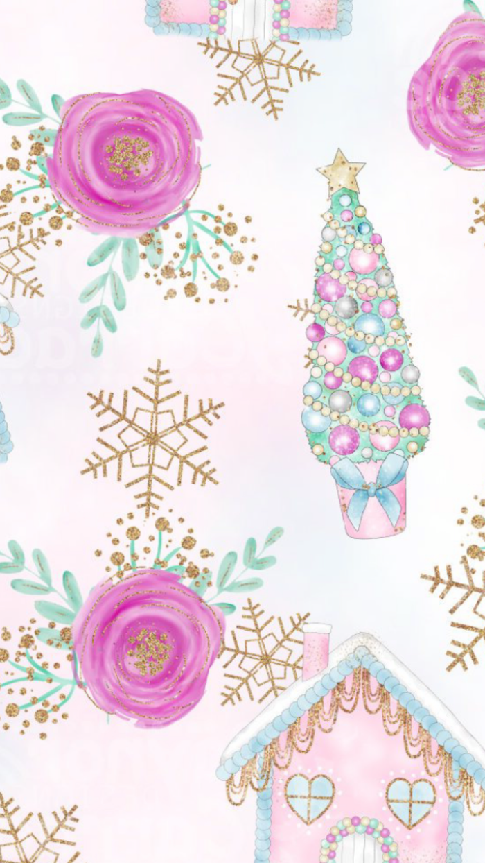 white background christmas desktop backgrounds drawings of pink roses gold snowflakes gringerbread house christmas tree