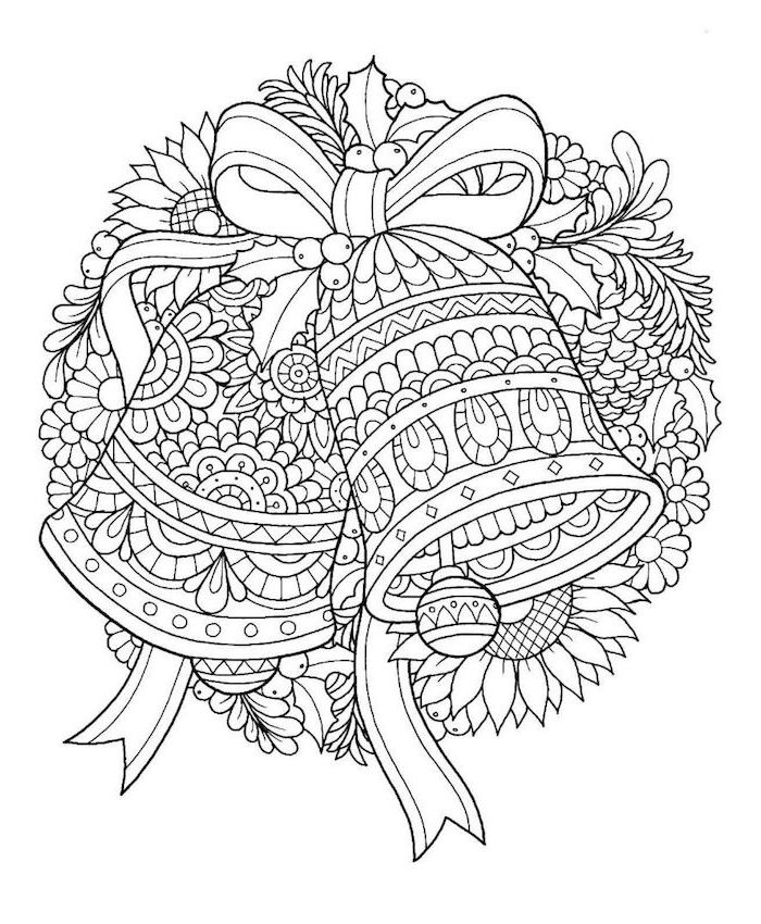 white background coloring pages for kids two bells hanging on a wreath made from flowers and mistletoe