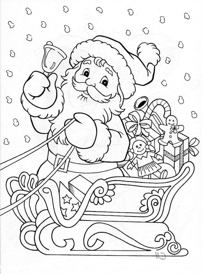white background free coloring pages for kids santa clause ringing a bell sitting in his sleigh free coloring pages for kids presents in the back