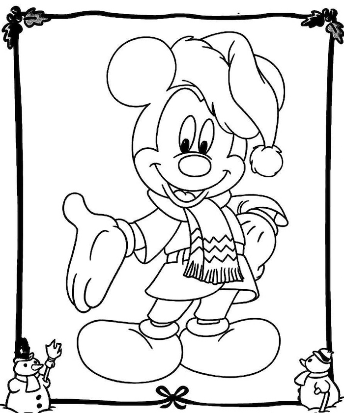 white background free printable coloring pages for kids drawing of mickey mouse with winter scarf and hat disney inspired drawing